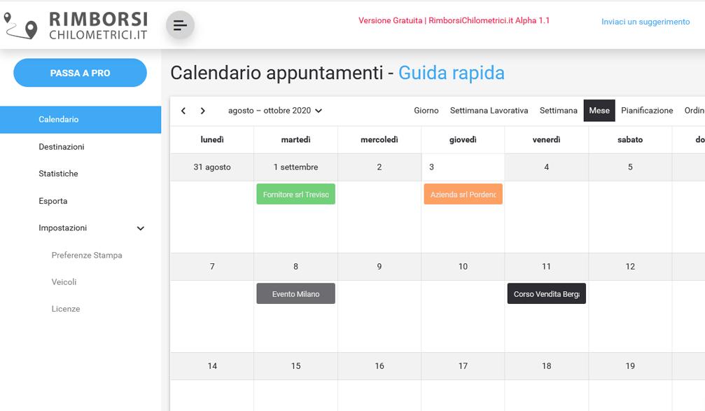 applicazione web rimborsi chilometrici saas calendario