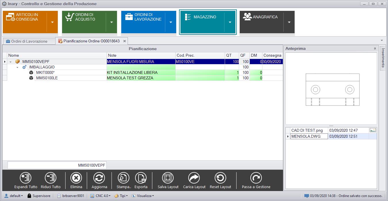 realizzazione software client server inary cad test